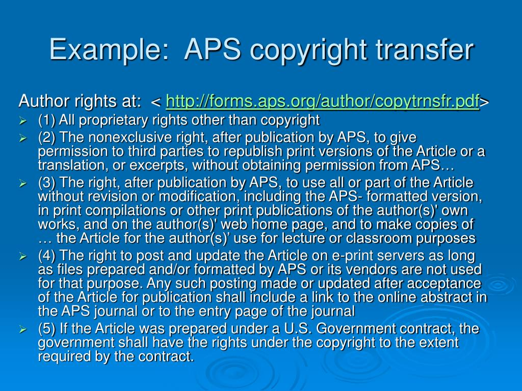Example:  APS copyright transfer