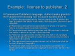 example license to publisher 2