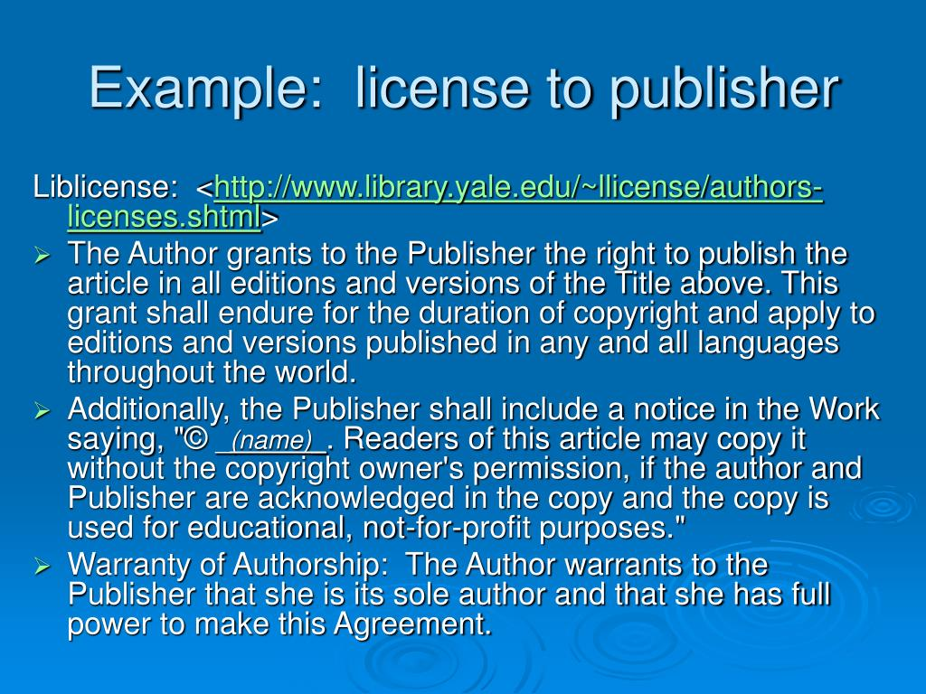 Example:  license to publisher