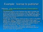 example license to publisher