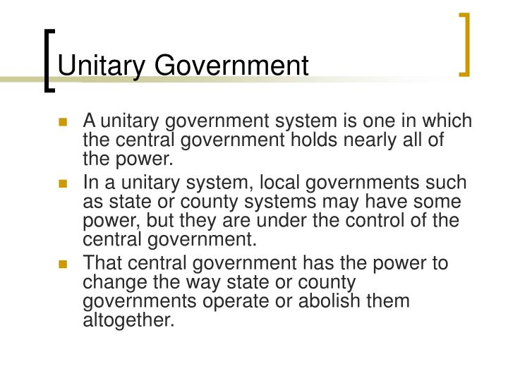 what is unitary form of government