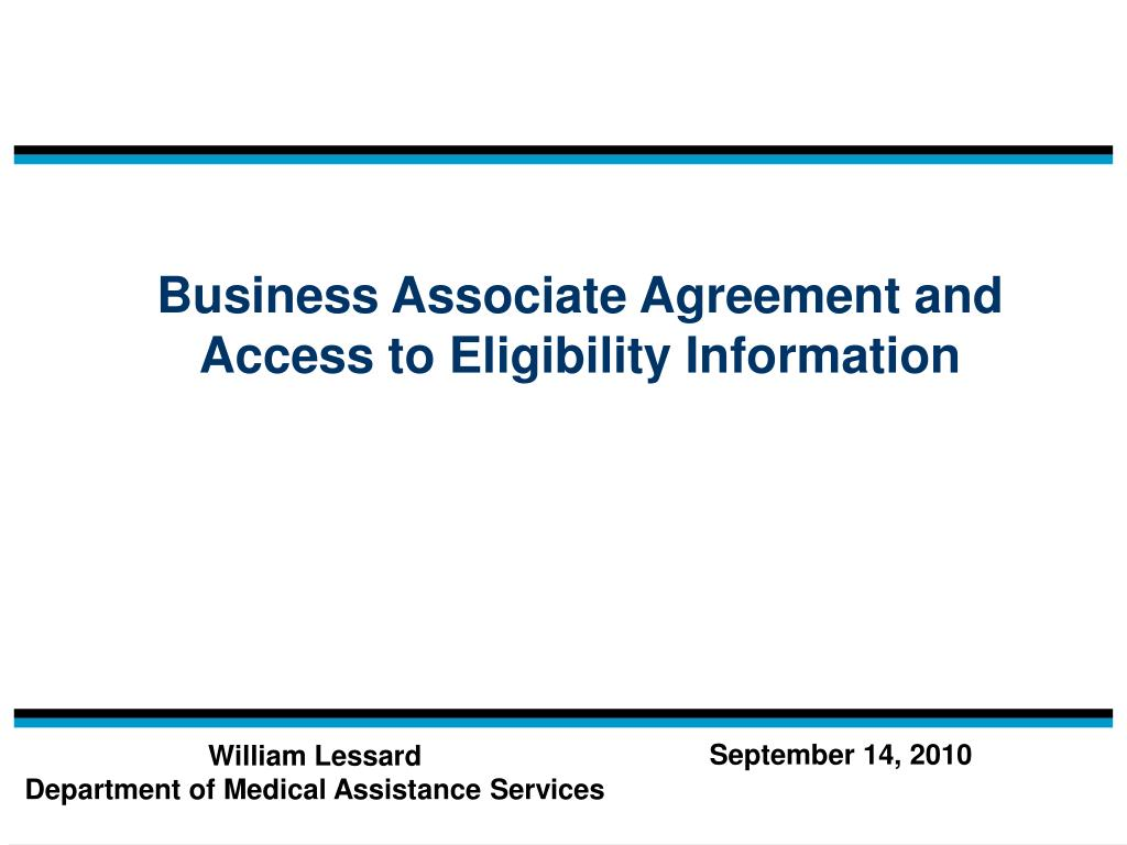 business associate agreement and access to eligibility information l.