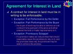 agreement for interest in land