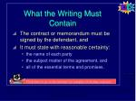 what the writing must contain