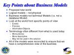 key points about business models