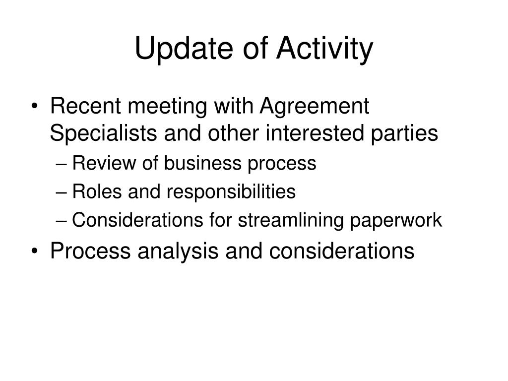 Update of Activity