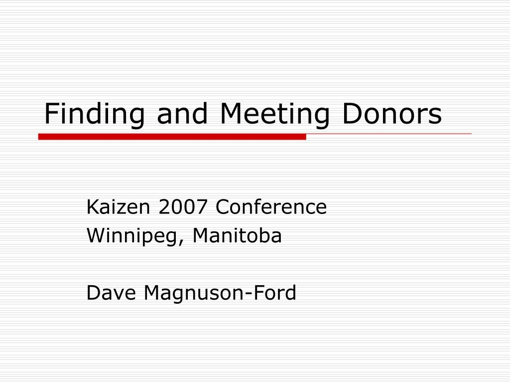 finding and meeting donors l.