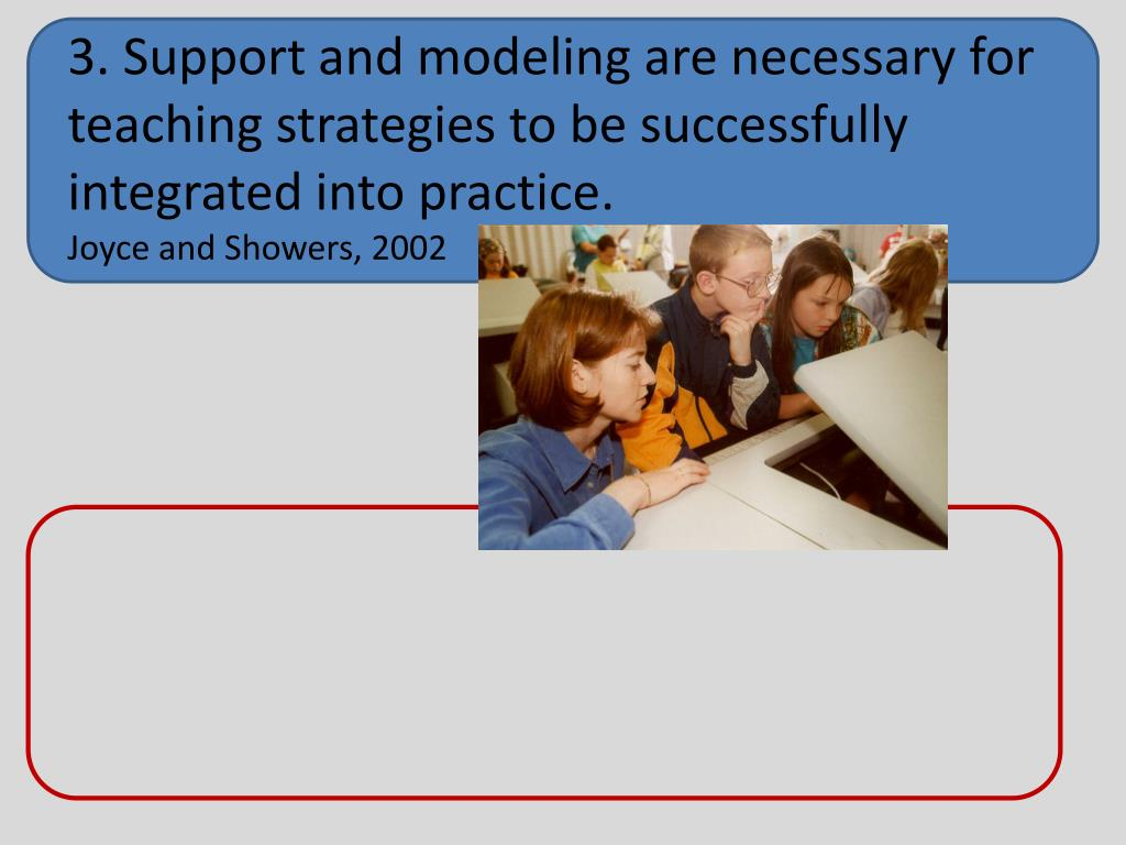 3. Support and modeling are necessary for teaching strategies to be successfully integrated into practice.