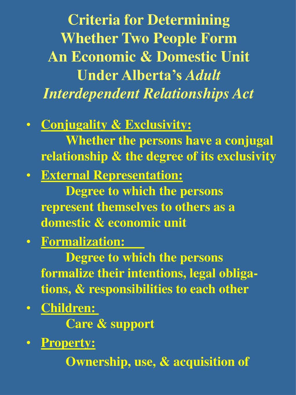 Criteria for Determining