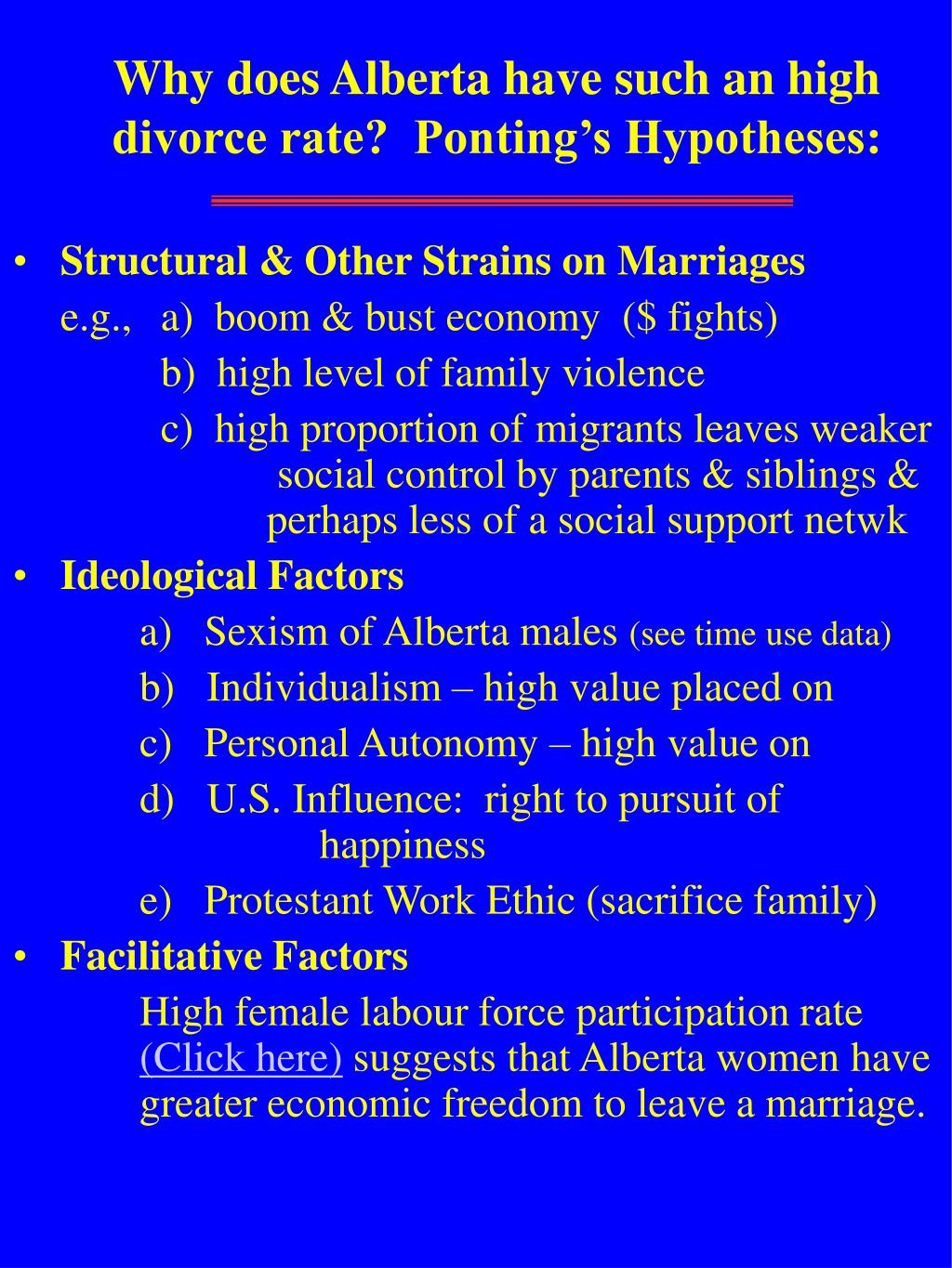 Why does Alberta have such an high divorce rate?  Ponting's Hypotheses: