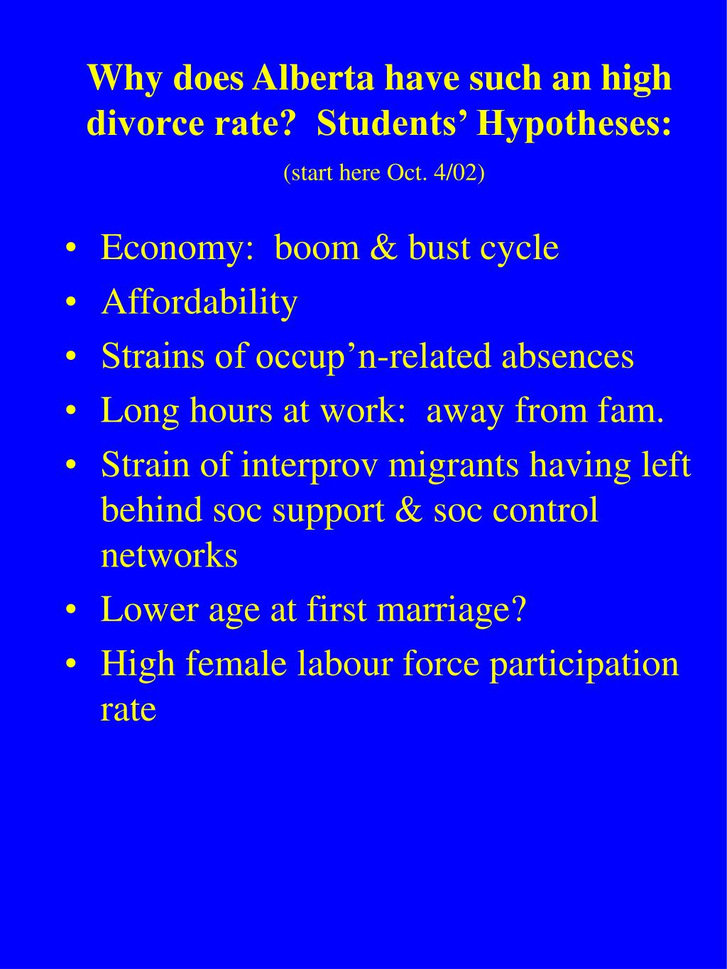 Why does Alberta have such an high divorce rate?  Students' Hypotheses: