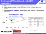 benchmarking iter stability code against rfx measurements