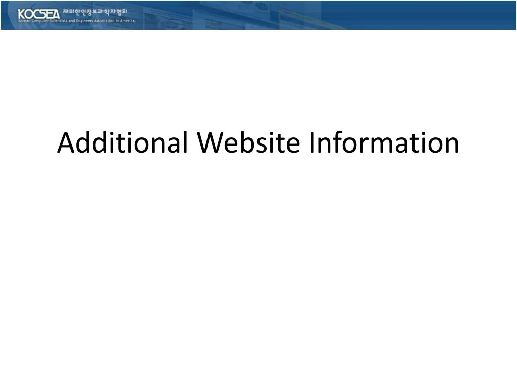 Additional Website Information