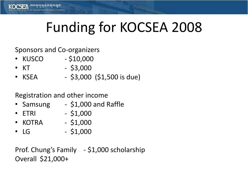Funding for KOCSEA 2008
