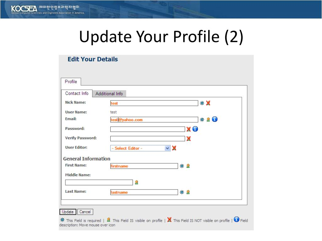 Update Your Profile (2)
