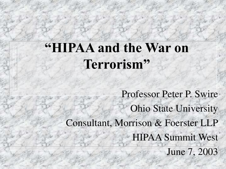 Hipaa and the war on terrorism