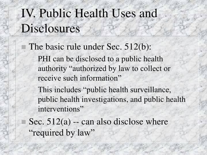 IV. Public Health Uses and Disclosures