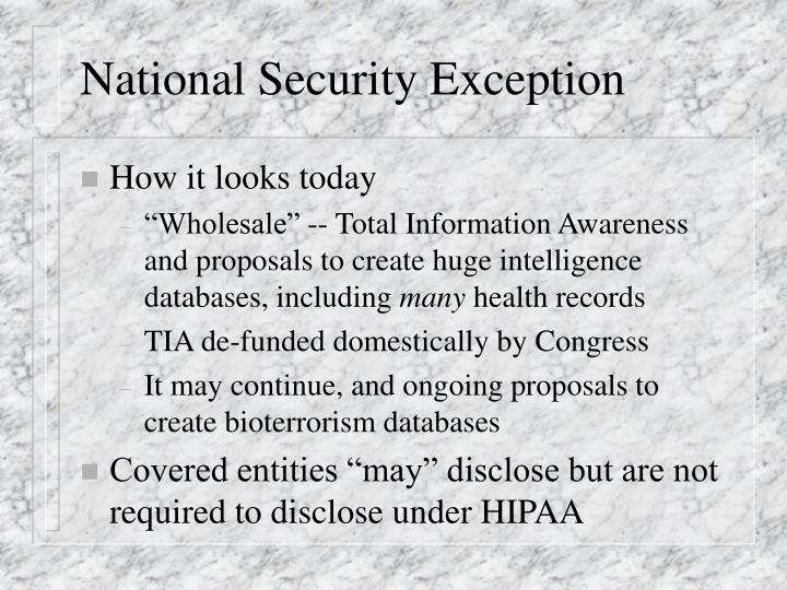 National Security Exception