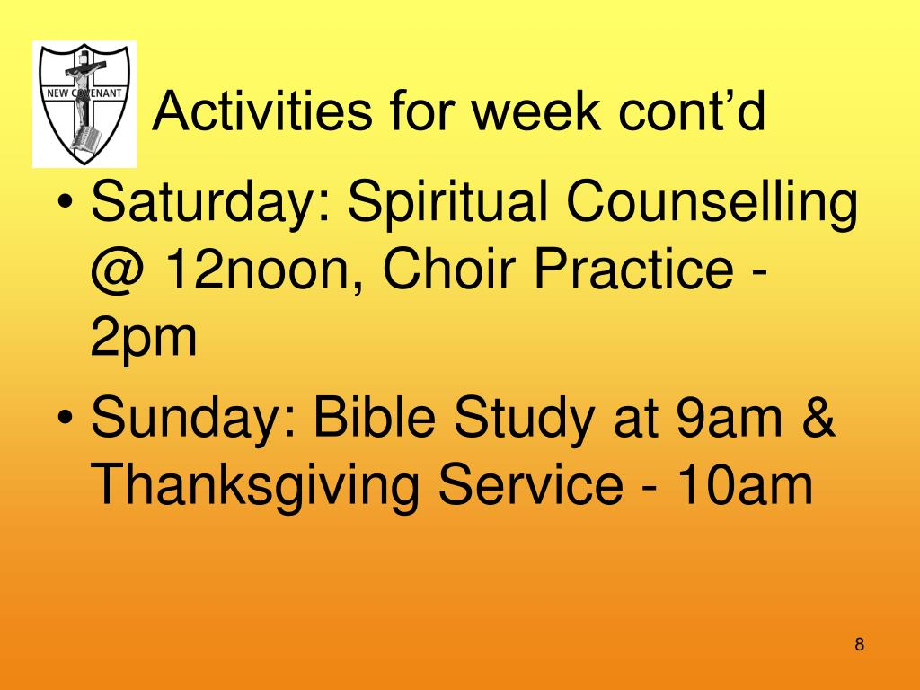 Activities for week cont'd