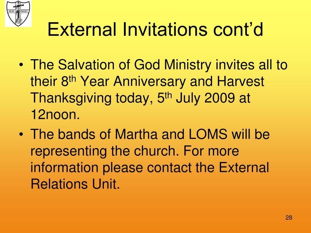 External Invitations cont'd