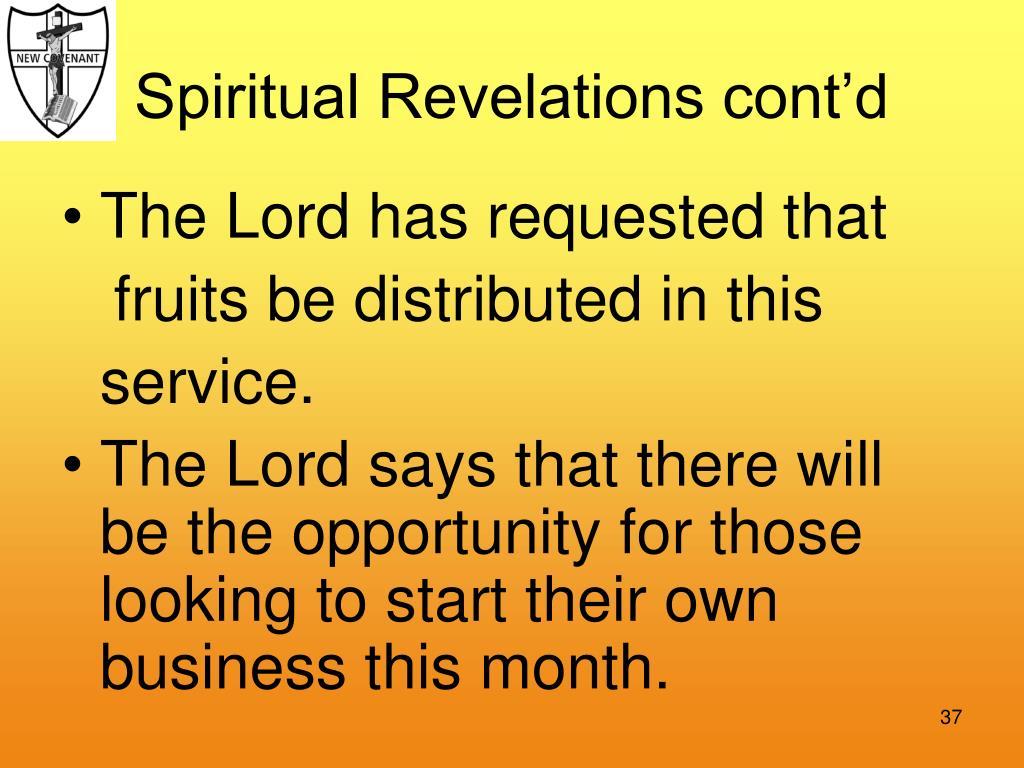 Spiritual Revelations cont'd