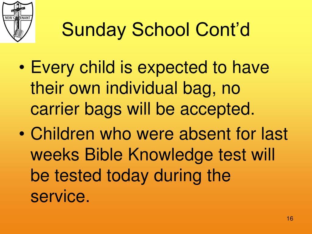 Sunday School Cont'd