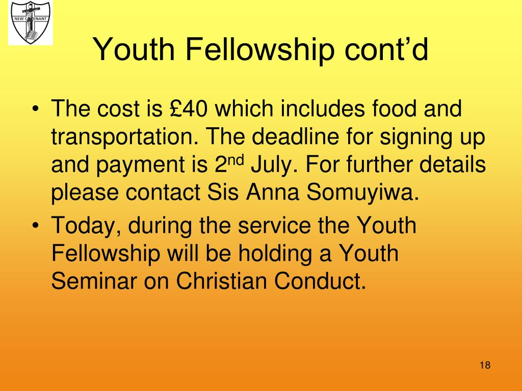 Youth Fellowship cont'd