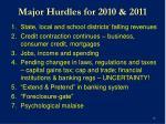 major hurdles for 2010 2011