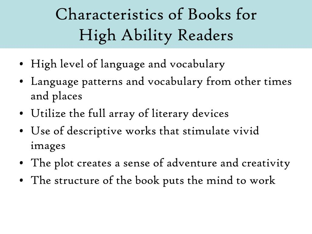 Characteristics of Books for