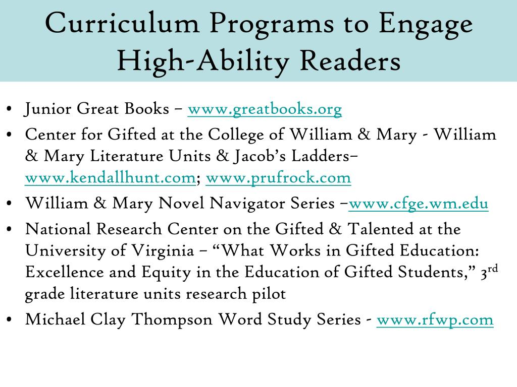 Curriculum Programs to Engage High-Ability Readers