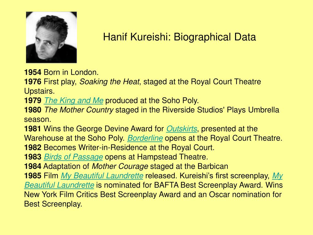 Hanif Kureishi: Biographical Data