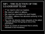 mp1 the election of the leadership team