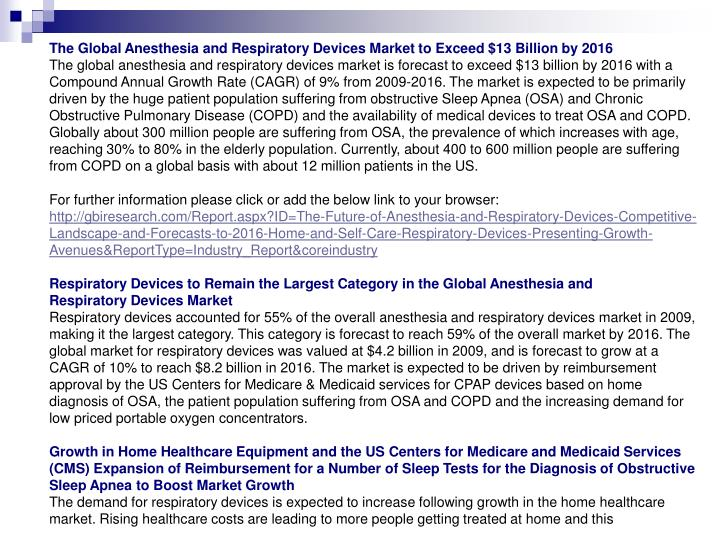 The Global Anesthesia and Respiratory Devices Market to Exceed $13 Billion by 2016