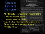 airman s applicant information