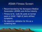 asma fitness screen