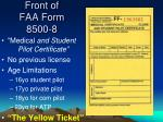 front of faa form 8500 81