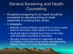 general screening and health counseling1