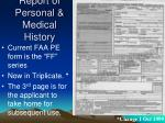 report of personal medical history