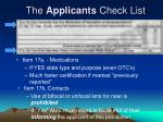 the applicants check list4
