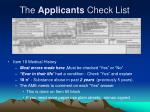 the applicants check list5