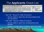the applicants check list6