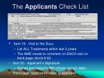 the applicants check list7