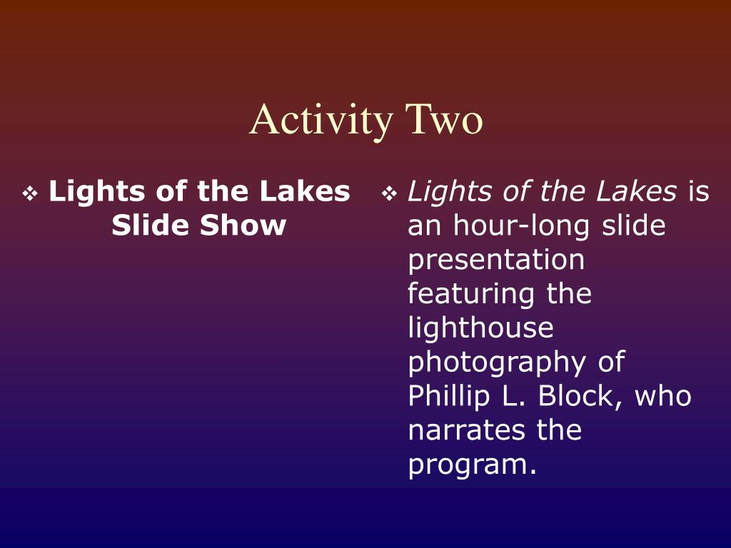 Lights of the Lakes Slide Show