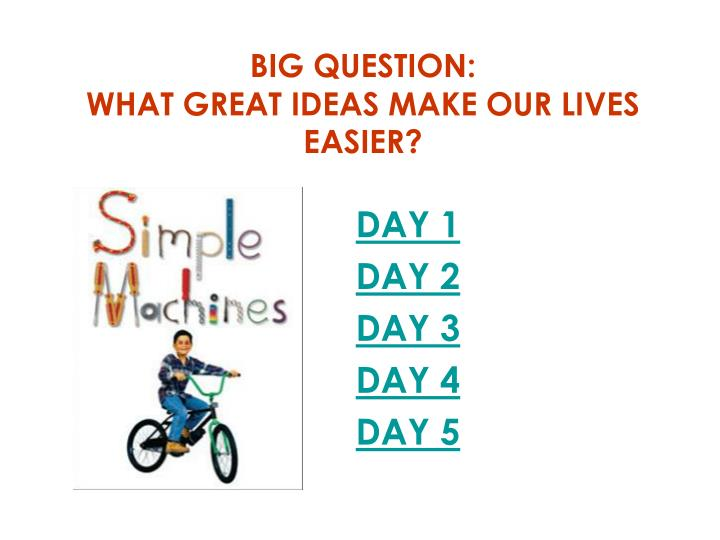 Big question what great ideas make our lives easier