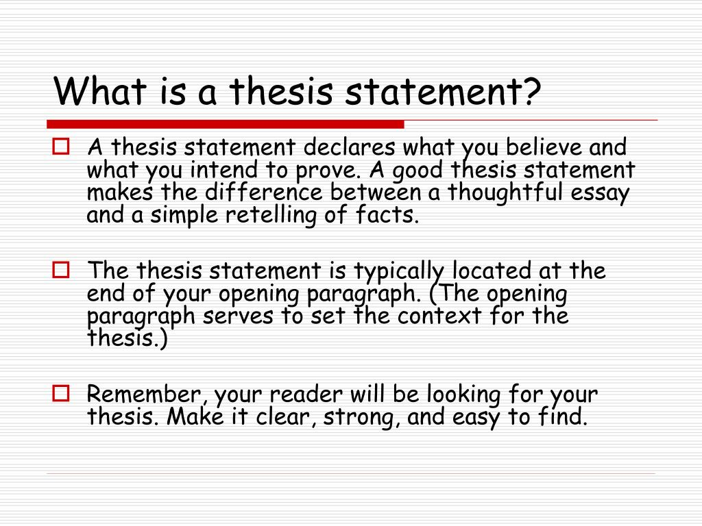 what is a thesis staement