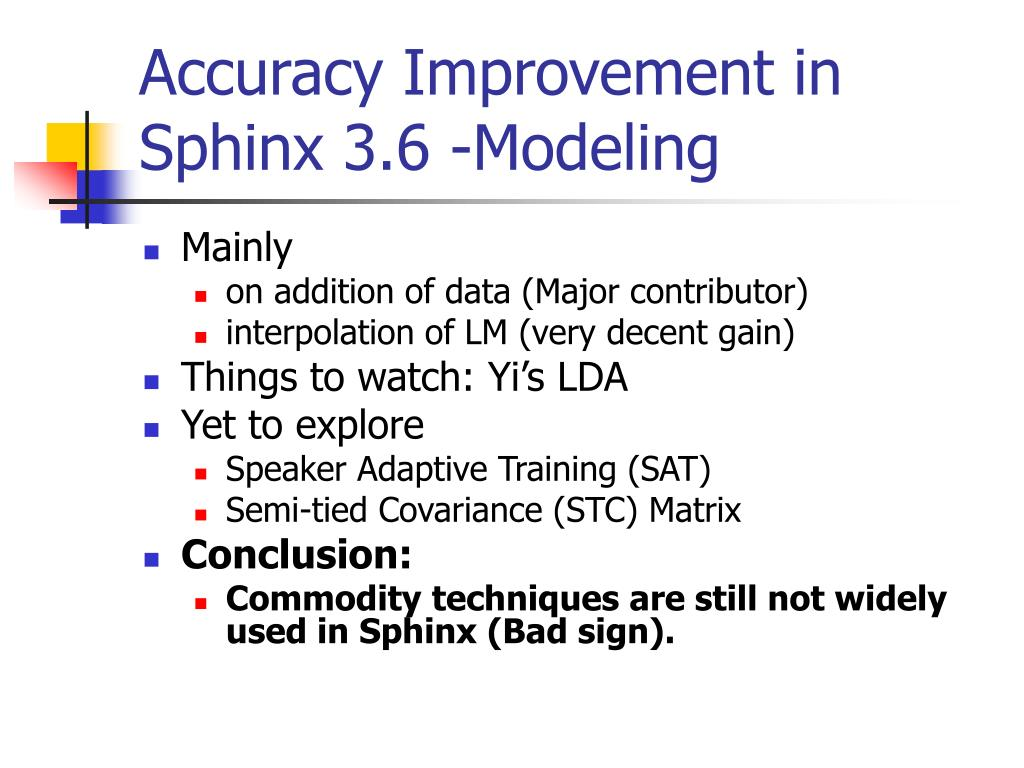 Accuracy Improvement in Sphinx 3.6 -Modeling