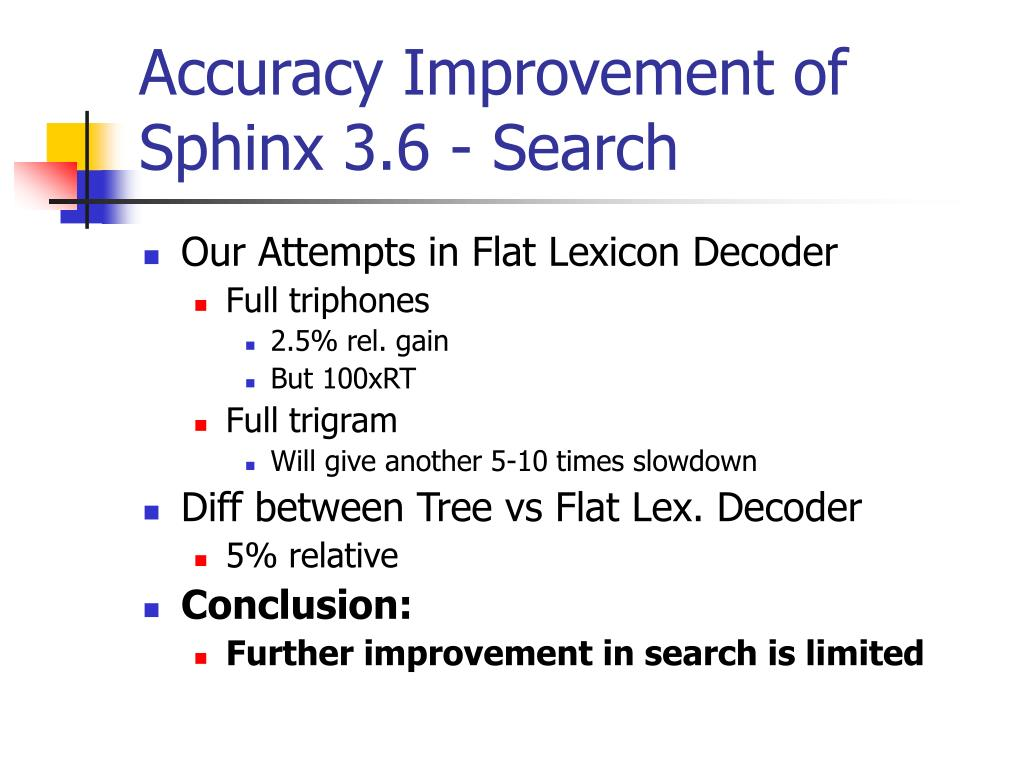 Accuracy Improvement of Sphinx 3.6 - Search