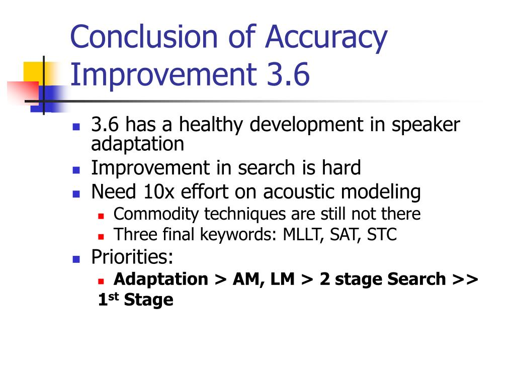 Conclusion of Accuracy Improvement 3.6