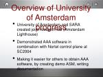 overview of university of amsterdam progress