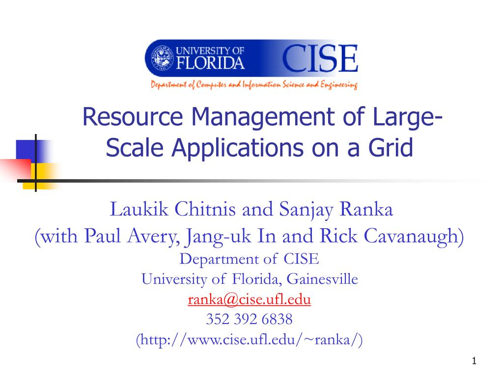 resource management of large scale applications on a grid l.